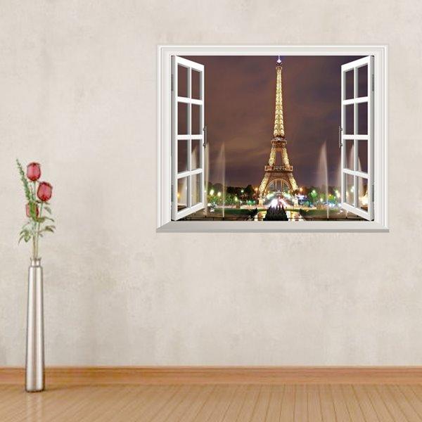 Amusing Eiffel Tower Pattern Window Scenery Removable Wall Stickers
