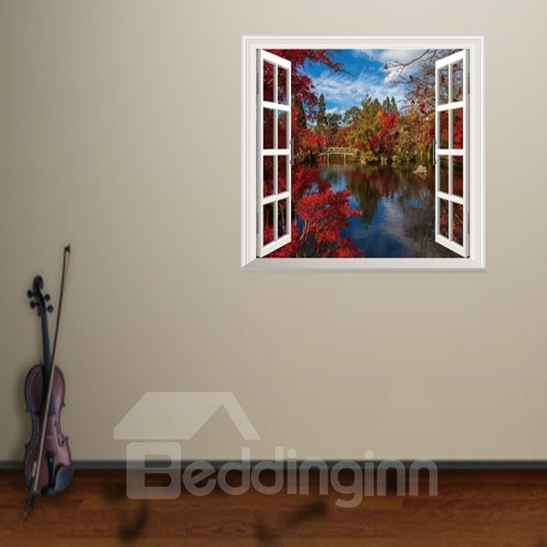 Red Autumnal Leaves and River Window Scenery Wall Stickers