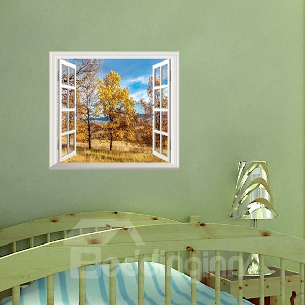 Wonderful Autumn Golden Leaves Window Scenery Removable Wall Stickers