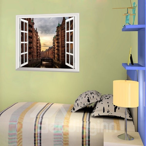 Beautiful Sunset City Window Scenery Removable Wall Stickers