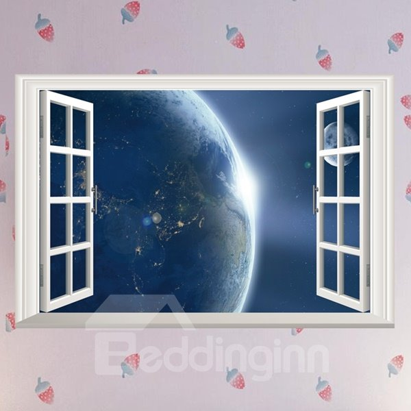 Science Fiction Planet Surface Window Scenery Wall Stickers