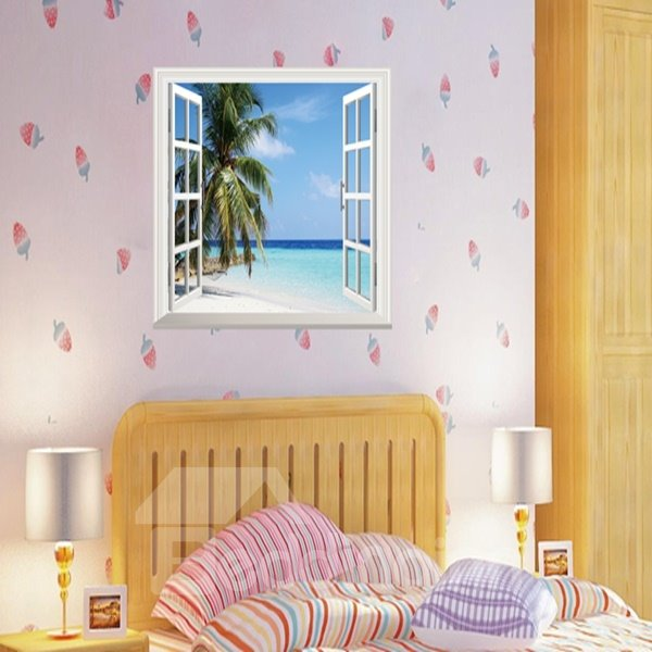 Blue Sky Seaside and Palm Tree Window Scenery Wall Stickers