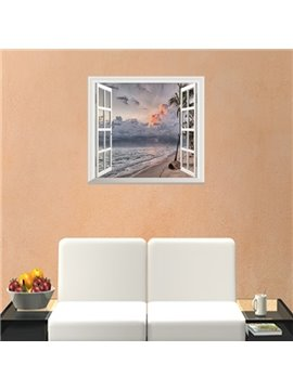 Graceful Sunset Glow Window Scenery Removable Wall Stickers