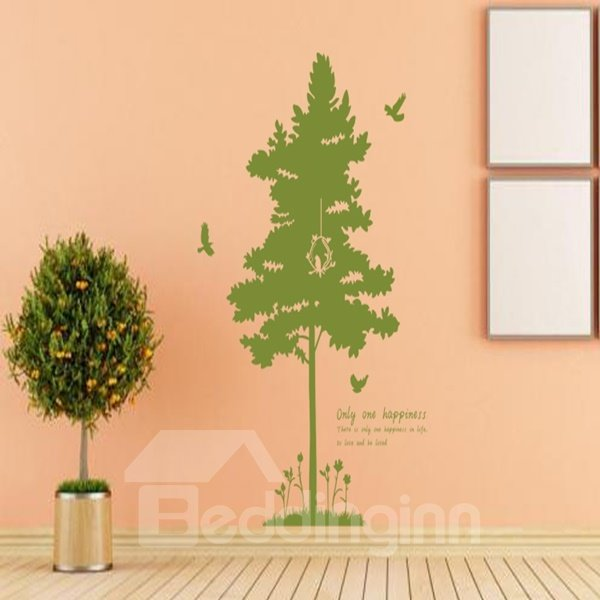 Simple Creative Pine Tree and Bird Pattern Wall Stickers