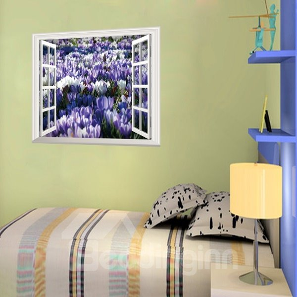 Charming Purple and White Flower 3D Window View Wall Stickers