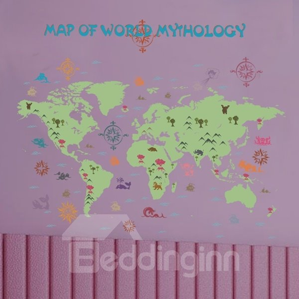 Green Decorative Map of World Pattern Wall Stickers