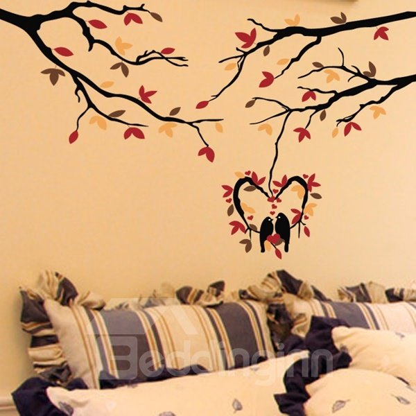 Romantic Heart Shape Lovely Birds and Tree Pattern Wall Stickers