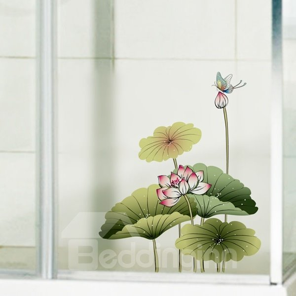 Fancy Lotus and Bird Pattern Glass Decoration Wall Stickers