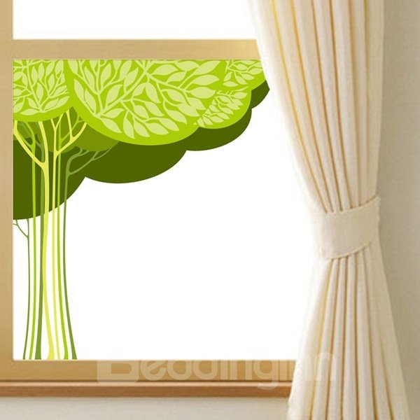 Green Simple Style Big Tree Pattern Glass Decoration Wall Stickers