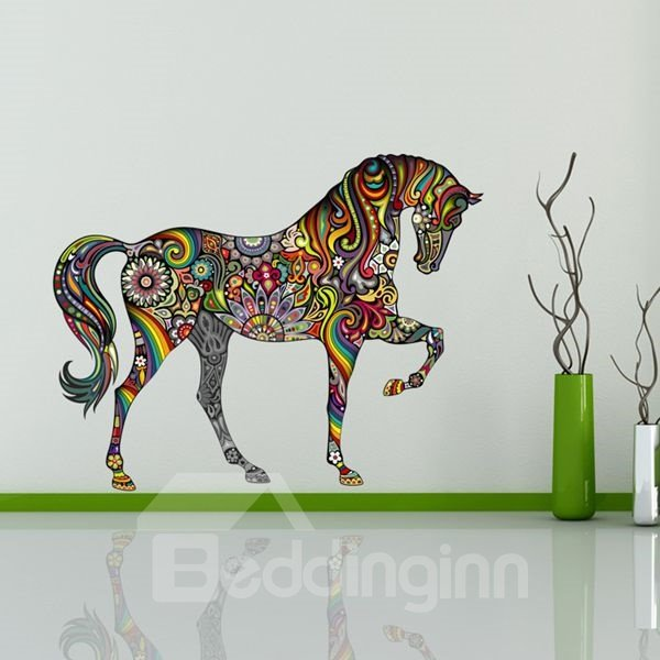 Creative Digital Colorful Horse Pattern Wall Stickers