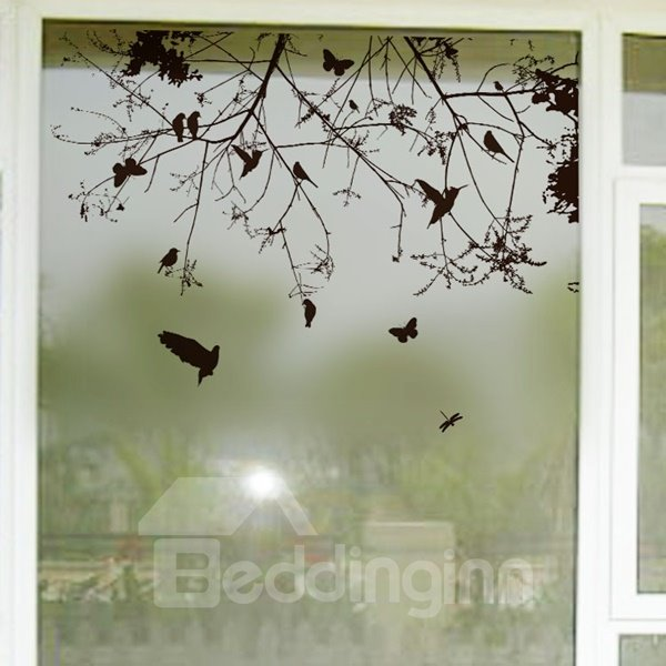 Sere Branch and Bird Pattern Glass Decoration Wall Stickers