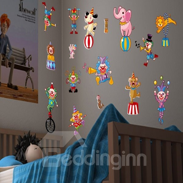 Amusing Decorative Animal Acrobatics Pattern Wall Stickers