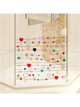 Colorful Heart Pattern Glass Decoration Wall Stickers