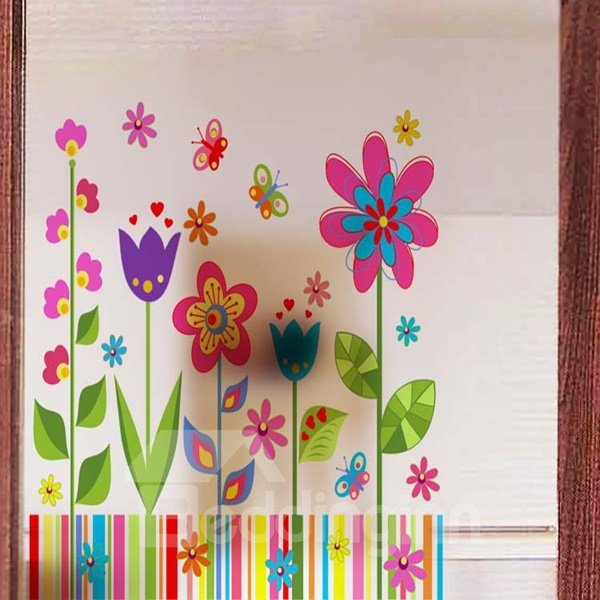 Simple Flower Pattern Glass Decoration Wall Stickers