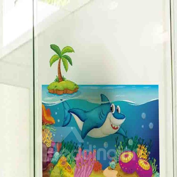 Cute Blue Vivid Whale in the Sea Pattern Wall Stickers