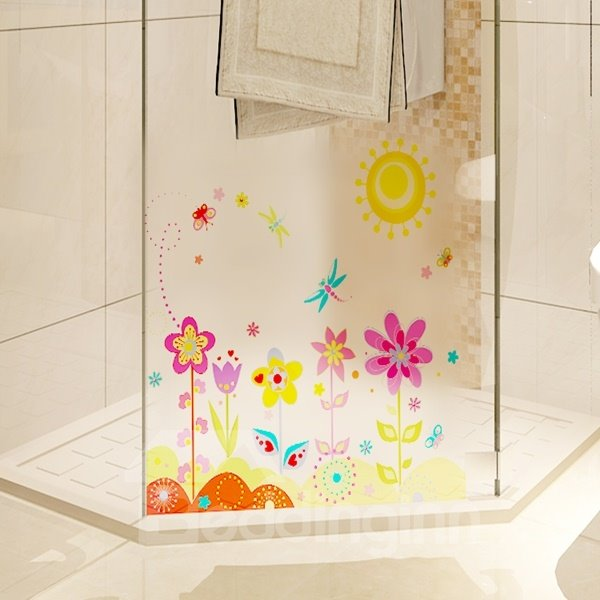 Lively Flower and Butterfly Under Sun Scenery Wall Stickers