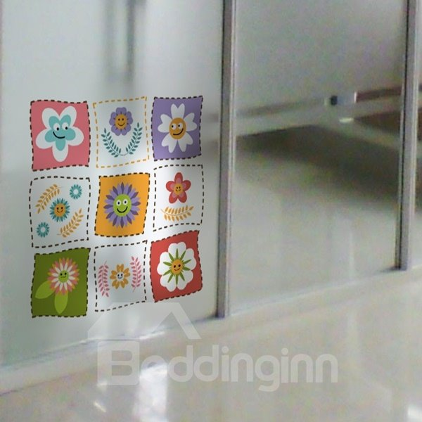Different Type of Little Flower Pattern Glass Wall Stickers