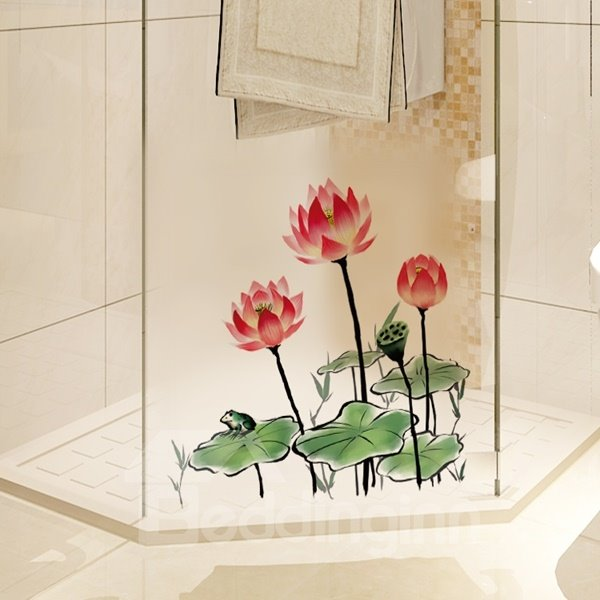 Amazing Decorative Lotus Pattern Glass and Wall Stickers