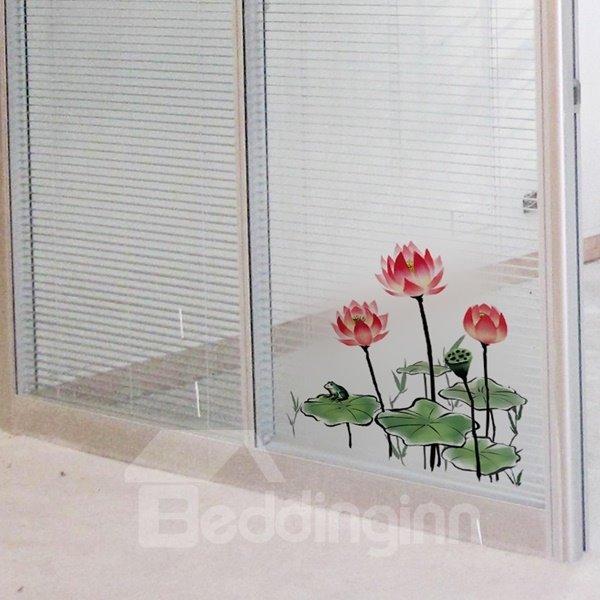 Amazing Decorative Lotus Pattern Glass and Wall Stickers