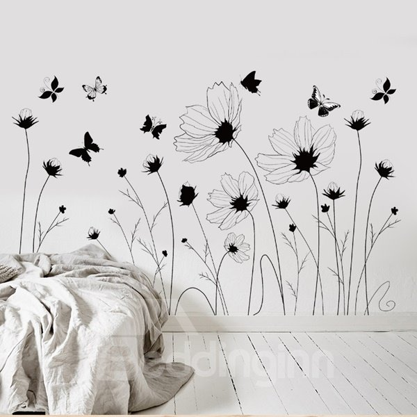 Black Decorative Flowers and Butterflies Pattern Wall Stickers