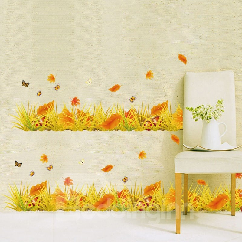 Simple Style Autumn Falling Leaves Scenery Pattern Wall Stickers