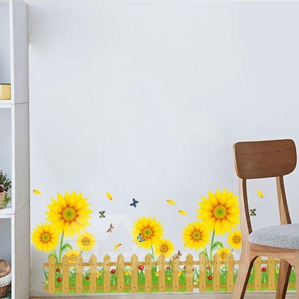 Decorative Sunflowers and Butterflies Garden Scenery Pattern Wall Stickers