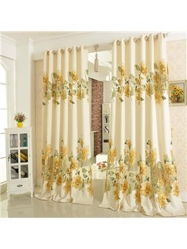 Country Style Hollow Jacquard Blue Flowers Sheer Curtain