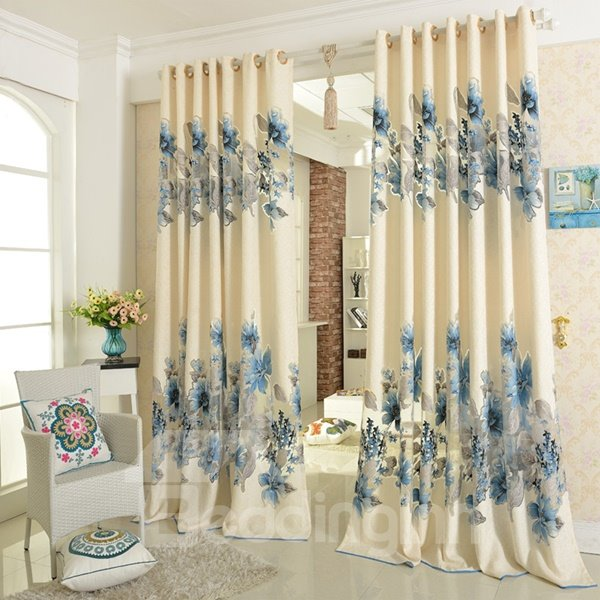 Country Style Hollow Jacquard Golden Flowers Custom Sheer Curtain