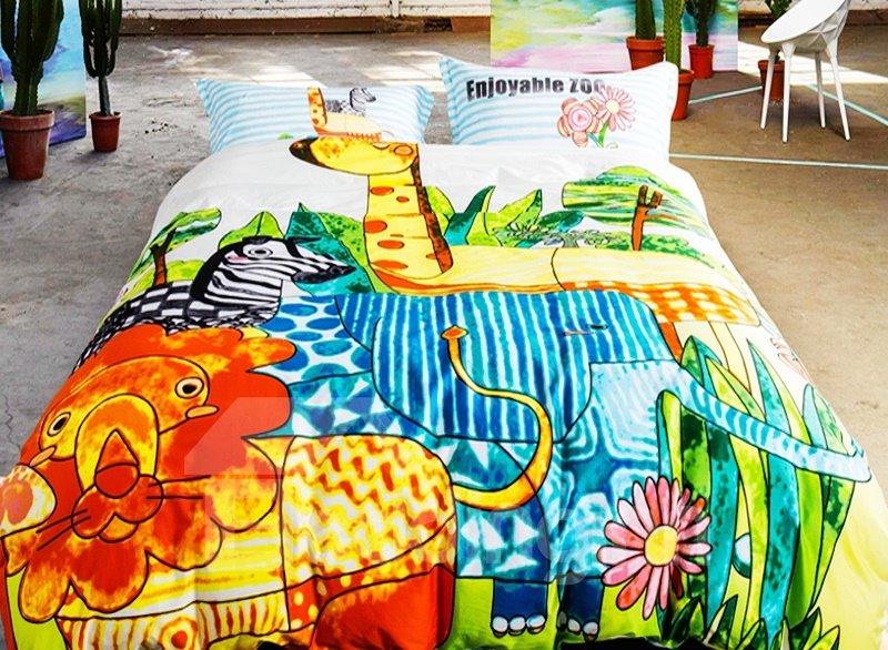 Jungle Adventure Animal Print 4-Piece Duvet Cover Sets