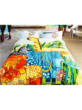 Jungle Adventure Animal Print 4-Piece Duvet Cover Sets
