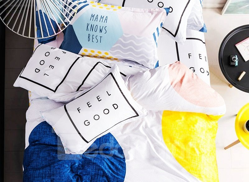 Minimalist Blue and Yellow Circle Print 4-piece Kids Cotton Duvet Cover Sets