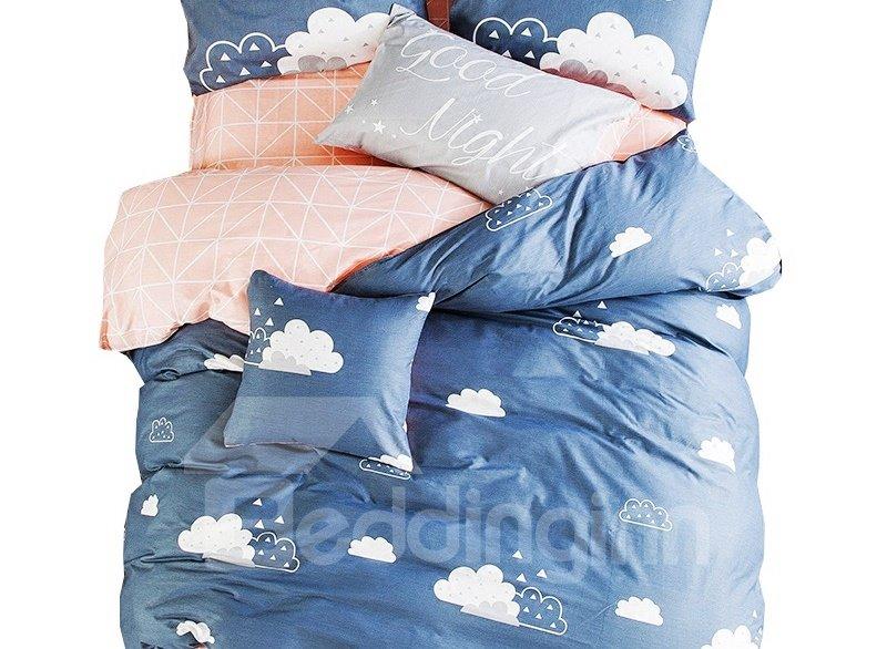Attractive White Clouds Print 4-piece Kids Cotton Duvet Cover Sets