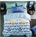 Blue Wish Tree Print 4-piece Kids Cotton Duvet Cover Sets