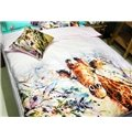 Cozy and Adorable Giraffe Oil Painting 3-piece Kids Cotton Duvet Cover Sets