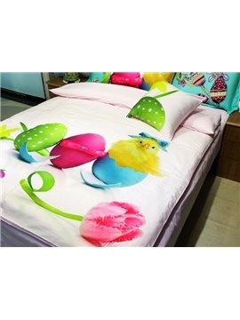 Lovely Baby Chicken and Colored Eggs Print 3-piece Kids Cotton Duvet Cover Sets