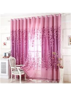 Elegant Purple Burnout Lily Printing Shading Cloth & Sheer Set