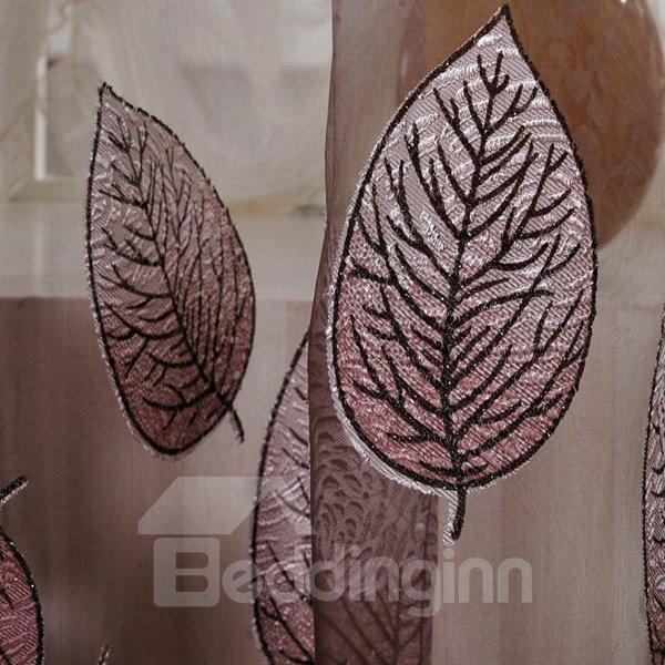 High-Grade Gilding Burnout Leaves Pattern Purple Shading Cloth & Sheer Set