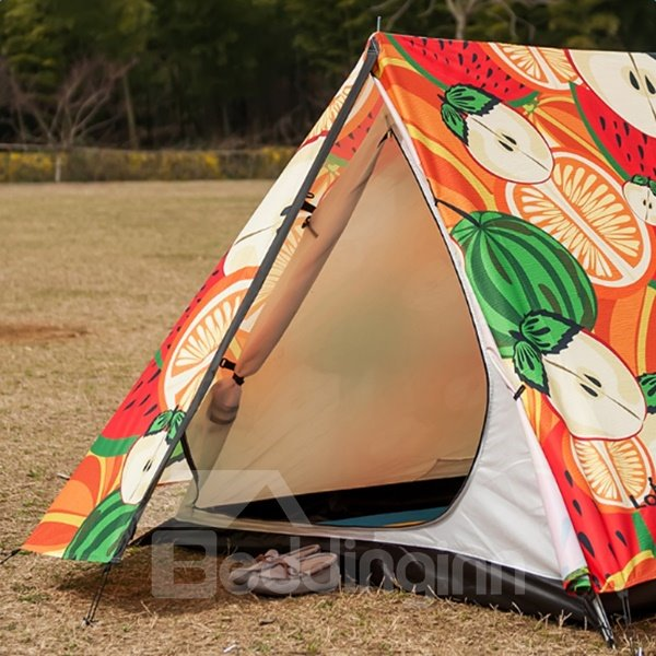 2-Person Fruits Iron Skeleton Outdoor Waterproof Tent with Two Layers Windproof Camping Tent