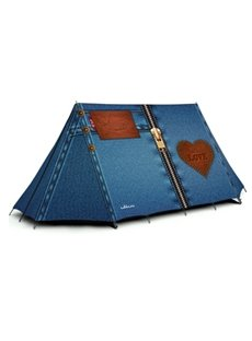 2-Person Jeans Pattern 210D Oxford Fabric Outdoor Tent with Two Layers Camping Tent