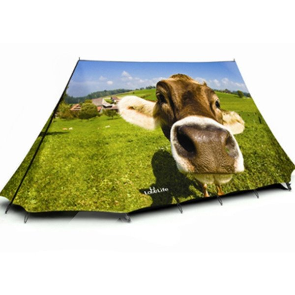 2-Person Cute Cow Outdoor Tent with Two Layers Waterproof Camping Tent