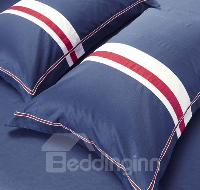 100% Woven Cotton Simple Stripe Design 4-Piece Duvet Cover Sets