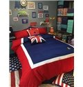 Cozy Red and Blue 100% Woven Cotton 4-Piece Duvet Cover Sets