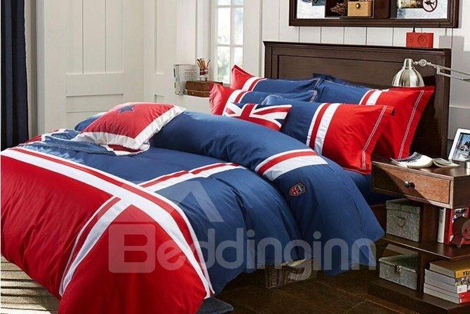 British Style Simple Stripes Print 4-Piece Cotton Duvet Cover Sets