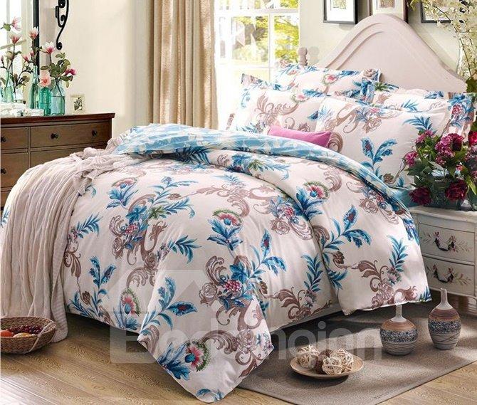 Elegant Retro Flower Vine 4-Piece Cotton Duvet Cover Sets