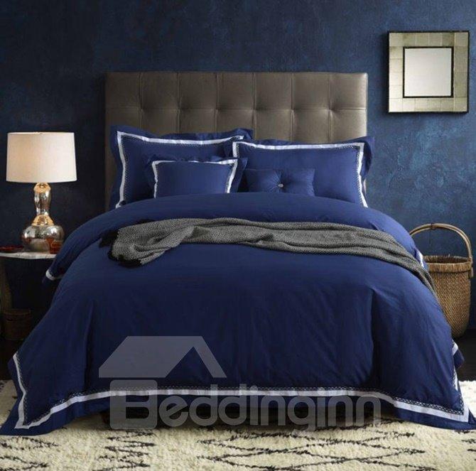Luxurious Solid Color 100% Cotton 4-Piece Duvet Cover Sets