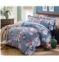 Light Purple and Pink Peony Print 4-Piece Cotton Duvet Cover Sets
