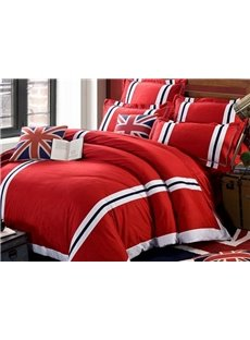Blue and White Stripe Print Vivid Red 4-Piece Cotton Duvet Cover Sets
