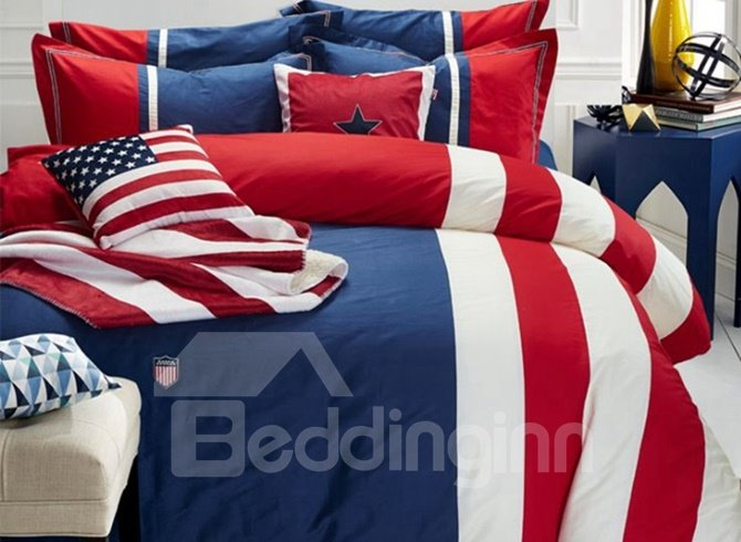 Modern Blue Red Stripes Print 4-Piece Cotton Duvet Cover Sets