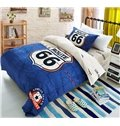 Unique Route 66 Print Blue Cotton 3-Piece Duvet Cover Sets