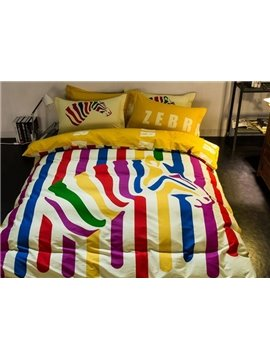 Unique Colorful Zebra Print 4-Piece Cotton Duvet Cover Sets